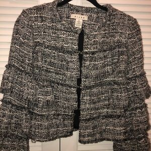 Anthropologie Hiche Tweed Tiered Ruffle Blazer